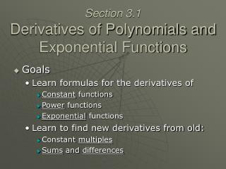 Section 3.1 Derivatives of Polynomials and Exponential Functions