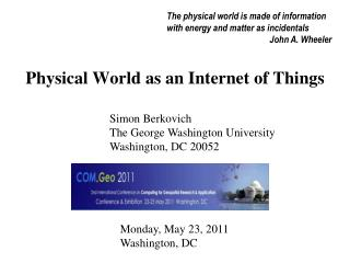 Physical World as an Internet of Things