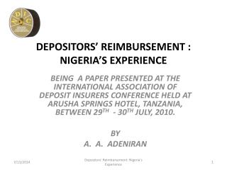 DEPOSITORS' REIMBURSEMENT : NIGERIA'S EXPERIENCE