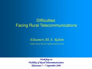 Difficulties  Facing Rural Telecommunications