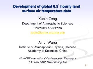 Development of global 0.5 ˚  hourly land surface air temperature data