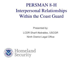 PERSMAN 8-H Interpersonal Relationships  Within the Coast Guard