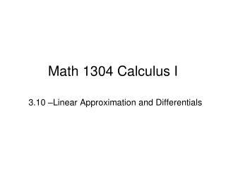 Math 1304 Calculus I