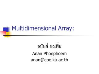 Multidimensional Array: