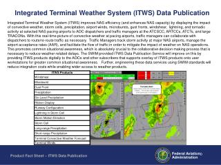 Integrated Terminal Weather System (ITWS) Data Publication
