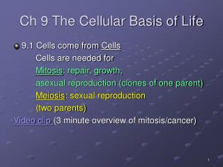 Ch 9 The Cellular Basis of Life