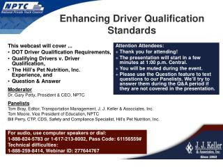 Enhancing Driver Qualification Standards