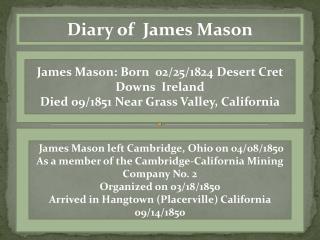 Diary of  James Mason