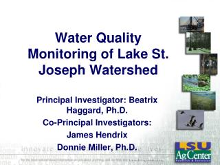 Water Quality Monitoring of Lake St. Joseph Watershed