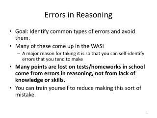 Errors in Reasoning