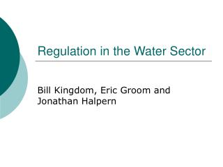 Regulation in the Water Sector