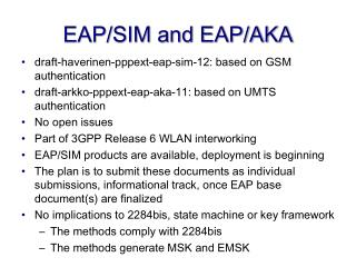 EAP/SIM and EAP/AKA