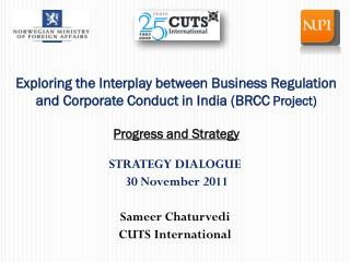 Exploring the Interplay between Business Regulation and Corporate Conduct in India (BRCC  Project) Progress and Strateg