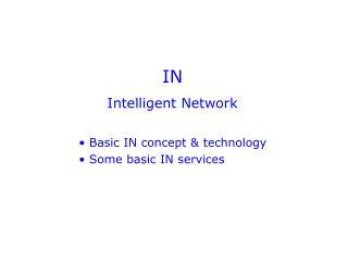 IN Intelligent Network