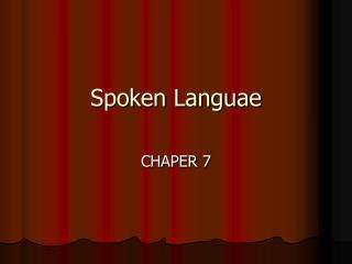 Spoken Languae