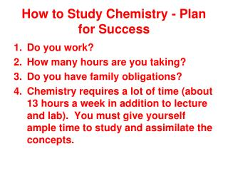 How to Study Chemistry - Plan for Success