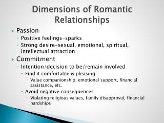 Dimensions of Romantic Relationships