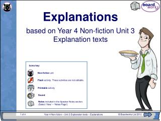 Year 4 Non-fiction � Unit 3 Explanation texts � Explanations