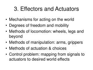 3. Effectors and Actuators