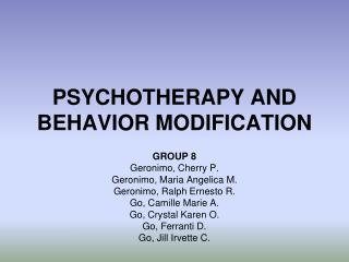 PSYCHOTHERAPY AND BEHAVIOR MODIFICATION