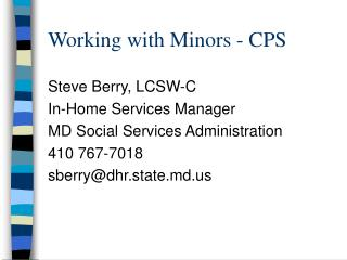Working with Minors - CPS