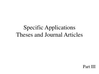 Specific Applications Theses and Journal Articles