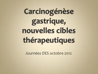 Carcinogénèse gastrique,  nouvelles cibles thérapeutiques