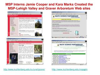 MSP Interns Jamie Cooper and Kara Marks Created the MSP-Lehigh Valley and Graver Arboretum Web sites