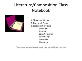 Literature/Composition Class Notebook