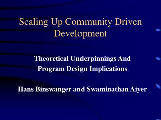 Scaling Up Community Driven Development