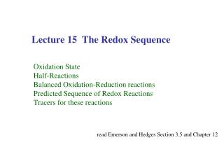 Lecture 15  The Redox Sequence