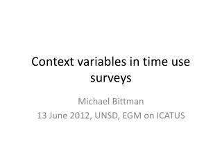 Context variables in time use surveys