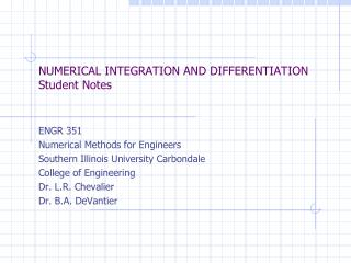 NUMERICAL  INTEGRATION  AND  DIFFERENTIATION Student Notes