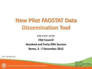 New Pilot FAOSTAT Data Dissemination Tool