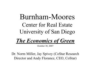 Burnham-Moores Center for Real Estate University of San Diego