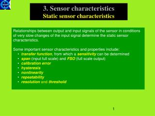 3. Sensor characteristics Static sensor characteristics