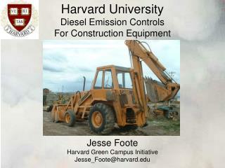 Harvard University Diesel Emission Controls For Construction Equipment