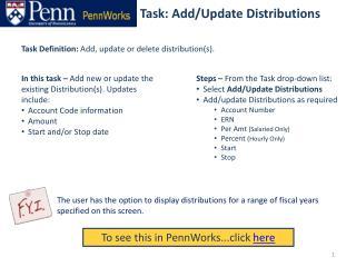 Task: Add/Update Distributions