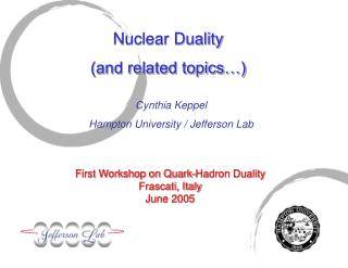 Nuclear Duality (and related topics…)