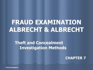 FRAUD EXAMINATION ALBRECHT & ALBRECHT