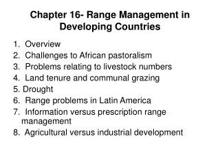 Chapter 16- Range Management in Developing Countries