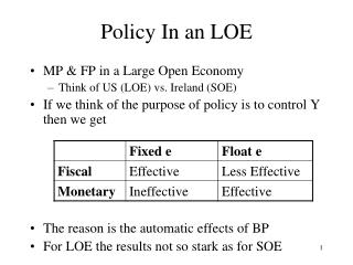 Policy In an  LOE