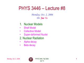 PHYS 3446 – Lecture #8