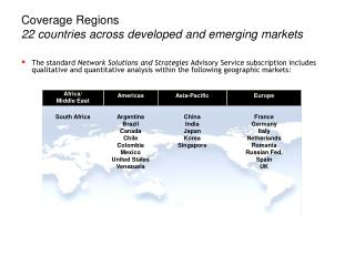 Coverage Regions  22 countries across developed and emerging markets