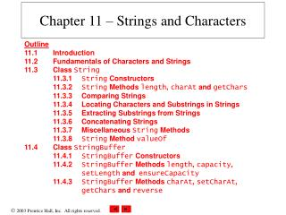 Chapter 11 – Strings and Characters