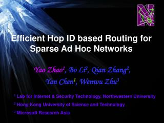 Efficient Hop ID based Routing for Sparse Ad Hoc Networks