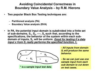 Avoiding Coincidental Correctness in  Boundary Value Analysis – by R.M. Hierons