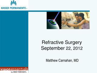 Refractive Surgery September  22, 2012