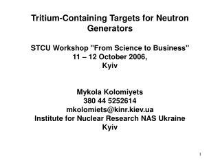 Tritium-Containing Targets for Neutron Generators