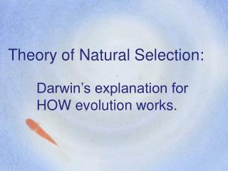 Theory of Natural Selection:
